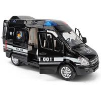 儿童玩具车警察车男孩回力车模带警报声 仿真合金特警车汽车模型