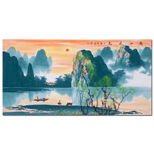 纯手绘四尺山水 张泉踪《漓江风光》客厅中堂玄关装饰画