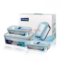 GlassLock/三光云彩 韩国进口钢化玻璃水杯四面锁扣保鲜盒饭盒三件组GL06便当盒