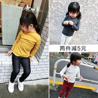 女童纯棉打底衫婴幼儿宝宝木耳边长袖T恤小童纯色体恤上衣