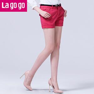 lagogo拉谷谷春装新款青春亮色活力休闲短裤