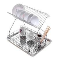 时尚厨房不锈钢碗架 双层碗碟沥水架