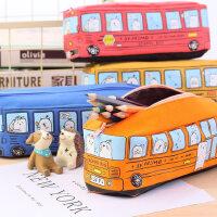 创意中小学生笔袋男儿童卡通巴士汽车文具袋大容量笔盒铅笔盒帆布