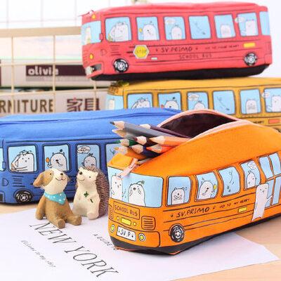 创意中小学生笔袋男儿童卡通巴士汽车文具袋大容量笔盒铅笔盒帆布 巴士汽车造型笔袋,趣味儿童文具袋