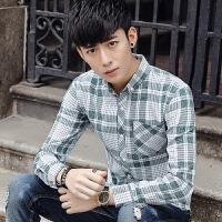 韩版衬衫男长袖青少年学生新款男士休闲格子衬衣帅气修身潮流寸衣