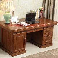 中式实木办公桌 家用台式电脑桌 写字台1.6/1.8米书桌 带锁大班台