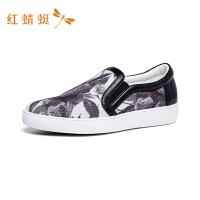 红蜻蜓女鞋平底工作鞋懒人真皮时尚女鞋单鞋一脚蹬休闲鞋-