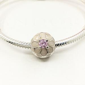 Pandora潘多拉裸粉色大丽花固定扣盛开的大丽菊DIY串珠791828NBP