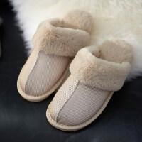 棉拖鞋女防滑防水居家室内保暖情侣毛绒厚底拖鞋