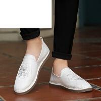 潮牌2017夏季男士帆布鞋休闲复古亚麻刺绣懒人一脚蹬男鞋子中国风布鞋白色