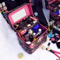 大号化妆包印花手提化妆箱专业多层便携小号化妆品护肤品收纳箱包 黑色