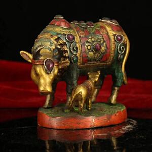 纯铜纯手工打造镶嵌宝石彩绘描金母子牛