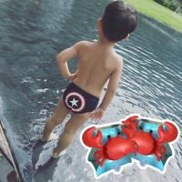 儿童泳裤男童卡通男孩三角游泳裤可爱婴儿宝宝游泳衣英雄造型短裤 +泳袖