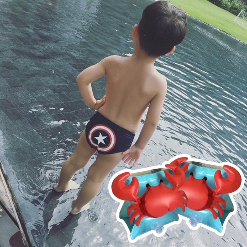 儿童泳裤男童卡通男孩三角游泳裤可爱婴儿宝宝游泳衣英雄造型短裤 +泳袖 发货周期:一般在付款后2-90天左右发货,具体发货时间请以与客服协商的时间为准