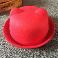 韩版潮秋冬天可爱猫耳朵帽子 女 圆顶小礼帽毛呢帽英伦复古圆帽