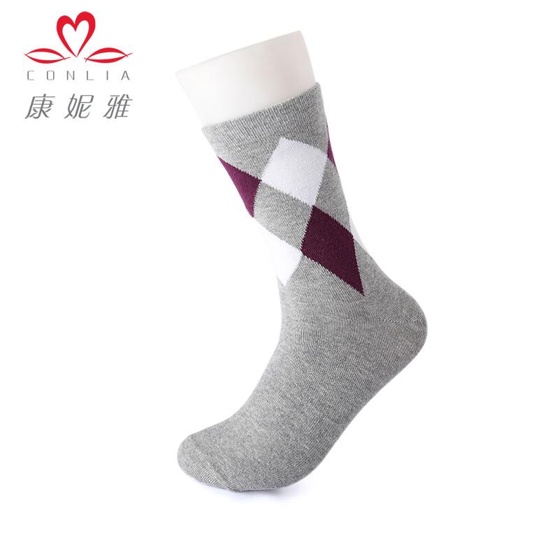 【5双盒装】康妮雅2015家居服配件 男士简约菱形格高筒袜子先领卷后购物 满399减50