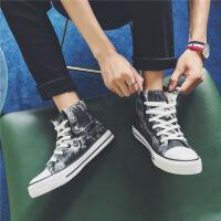 CUM港仔男鞋帆布鞋男高帮帆布鞋男学生板鞋布鞋男潮鞋球鞋运动鞋