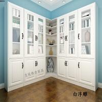 欧式书柜实木带门自由组合单门23门转角书柜书架带玻璃门储物柜子 0.8-1米宽