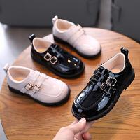儿童皮鞋儿童黑色休闲鞋女男童英伦风小学生演出单鞋