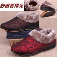 北京布鞋冬季包跟棉拖鞋老人中老年棉鞋女防滑居家拖鞋低帮妈妈鞋