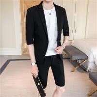 夏季青年夜店发廊七分袖小西装男士修身免烫中袖西服短西裤套装潮