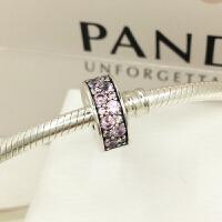 PANDORA潘多拉 粉色闪烁优雅925银硅胶固定夹791817PCZ