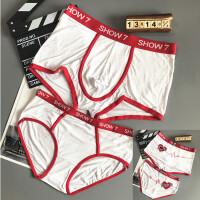 高品质情侣内裤时尚气质莫代尔黑白男平角女三角短裤创意个性