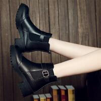 ZHR冬季清仓加绒粗跟马丁靴女韩版学生真皮短靴中跟靴子女靴H71