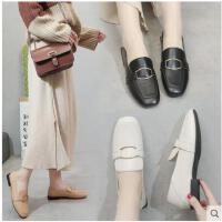 网红单鞋女新款春季小皮鞋子黑色豆豆鞋深口方头平底奶奶鞋冬