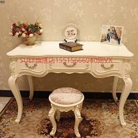 欧式书桌家用田园学习桌卧室书房笔记电脑桌写字台白色办公桌简约 3号长140cm宽60cm象牙白描金 送凳颜色随机 否
