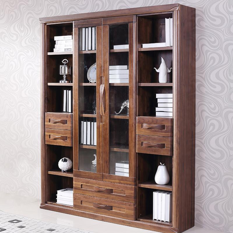 黑胡桃木格子实木储物柜书架四门书柜大容量带门书柜