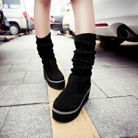 彼艾2017秋冬女鞋中靴平底长靴毛线长筒靴春秋季靴子坡跟女靴过膝长靴