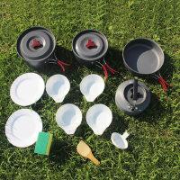 户外野餐烧烤用品户外野营锅具炊具便携组合套锅水壶餐具多人