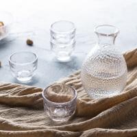 奇居良品 清酒白酒玻璃杯壶酒具套装 锤纹家用温酒壶日式清酒酒具