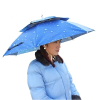 新款稳固防紫外线双层防风伞帽钓鱼帽伞头戴伞