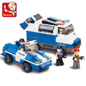 【当当自营】小鲁班城市特警系列儿童益智拼装积木玩具 特警押送队M38-B0189