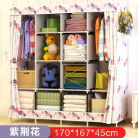组装衣柜布艺加固衣橱收纳叠简易布衣柜加粗钢管大号双人储物柜 2门