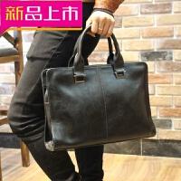 定型商务包男包公文包男士手提包横款休闲男式皮包电脑包韩版背包 黑色 全场满2件送手包