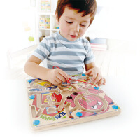Hape快乐农场迷宫2-6岁立体磁性运笔走珠迷宫儿童益智早教玩具游戏E1702