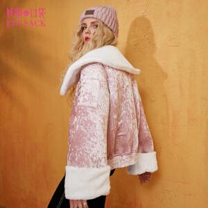 妖精的口袋预见琉璃球冬装新款宽松复古丝绒毛呢外套女