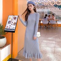 连衣裙 女士学生针织内搭中长款长袖荷叶边毛衣裙2020冬季新款韩版时尚女式洋气修身连衣裙女装针织裙