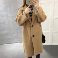 2018秋冬新款韩版长款大衣毛针织时尚百搭单排扣厚宽松外套女潮