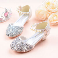 女童高跟鞋韩版公主凉鞋儿童艾莎模特表演小女孩水晶单鞋闪亮银色