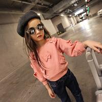 女童卫衣2018新款韩版上衣 可爱立体蝴蝶结长袖纯棉童装绒衣外套