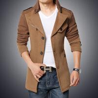 秋冬新款男装修身时尚风衣韩版毛呢中长款加绒保暖外套