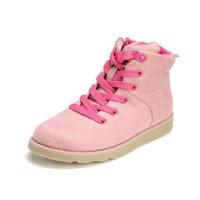 鞋柜SHOEBOX冬款女童粉红色系带侧拉链时尚靴子