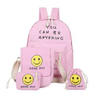 新款印花笑脸双肩包 卡通可爱帆布背包初中生书包四件套