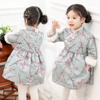 冬儿童公主裙新年装中国风唐装宝宝加绒拜年服连衣裙女童旗袍