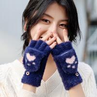 翻盖露指手套女冬天萌可爱时尚韩版卡通半指针织毛线加绒春秋学生保暖