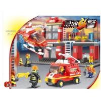 小鲁班 拼插启蒙积木急速火警消防局直升飞机警车消防车模型0225儿童玩具男孩玩具节日生日礼物